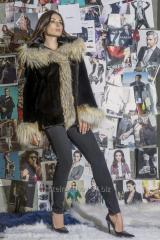 Fur coat with a hood from a mink of blacknafa