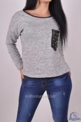 Джемпер женский тонкой вязки (цвет светло-серый)