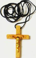 Straight line wooden cross worn on the neck