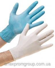 Перчатки нитриловые тестурированые (тонкие,