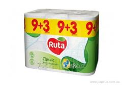 Бумага туалетная 2-слоя белая Ruta Classiс 9+3 рул