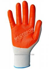 Gloves are knitted foamy