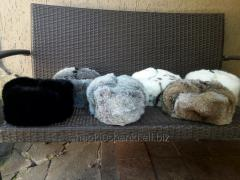 Hats with earflaps (classic) from rabbit fur