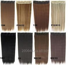 Термо волосы трессы для наращивания на заколках, затылочная прядь выбор цвета