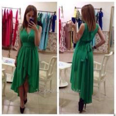 Asymmetric chiffon dress with a decollete