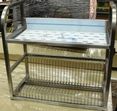 The shelf from a stainless steel for drying of
