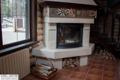 Fireplace from an acrylic stone