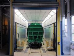 Spray-drying chamber for painting cars