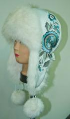 Cap with ear-flaps with natural fur (14-01, white