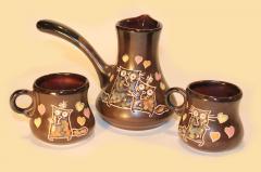 Ceramic big Coffee set (Turk (600 ml), 2 cups (200