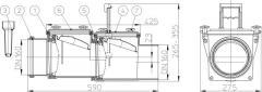 Механический магистральный канализационный затвор из ABS, DN160мм, HL715.2