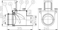 Механический магистральный канализационный затвор из ABS, DN125мм, HL712.1