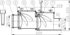 Механический магистральный канализационный затвор из ABS, DN125мм, HL712.2