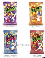 Anillos de maíz TM Zubby, crema agria 30 g