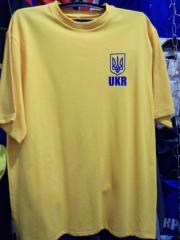 T-shirts with symbolics of Ukraine and Russia