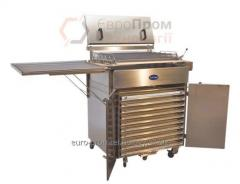 Universal installation for frying in hot fan
