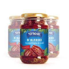 Sun-dried tomatoes in oil in a glass jar (280 g)