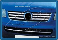 Накладки на решетку (6 шт, нерж) Carmos - Турецкая сталь Volkswagen T5 Caravelle (2004-2010)