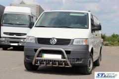 Кенгурятник WT003 (нерж) 60мм, с надписью Volkswagen T5 Transporter (2003-2010)