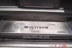 Накладки на пороги (нерж) 4 двери, OmsaLine - Итальянская нержавейка Volkswagen T5 Multivan (2003-2010)