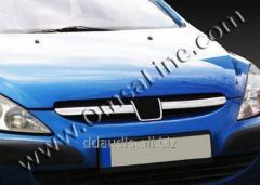 Накладки на решетку (2001-2005, 2 шт, нерж) Peugeot 307 (2001+)