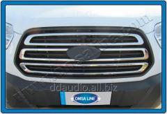 Накладки на решетку (3 шт, нерж) Carmos - Турецкая сталь Ford Transit (2014+)