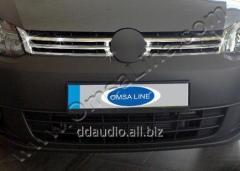 Накладки на решетку (2 шт, нерж) OmsaLine - Итальянская нержавейка Volkswagen Caddy (2010-2015)