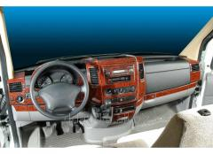 Накладки на панель (Meric, 40 деталей) Карбон Mercedes Sprinter (2006+/2013+)