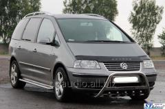 Кенгурятник (нерж) 60 мм, с надписью Volkswagen Sharan (2010+)