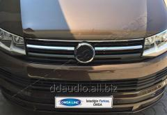 Накладки на решетку (2 шт, нерж) Volkswagen T6 (2015+)