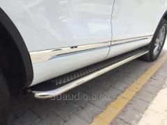 Боковые площадки Maydos V2 (2 шт., алюминий + нерж) Volkswagen Touareg (2010+)