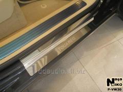 Накладки на пороги Натанико Premium (4 шт, нерж) Volkswagen Touareg (2002-2010)