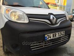 Цельная решетка в бампер (нерж) Renault Kangoo (2008+/2013+)