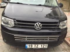 Цельная решетка в бампер (нерж) Volkswagen T5 рестайлинг (2010-2015)