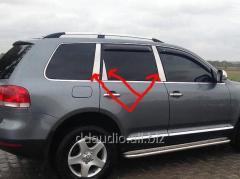 Хром на стойки дверей (6 шт, нерж) Volkswagen Touareg (2002-2010)