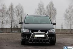 Кенгурятник WT003 (нерж) 60 мм, с надписью Volkswagen Touran (2010+)
