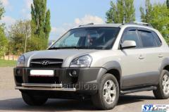 Передняя защита ST014 (нерж.) Hyundai Tucson JM (2004+)