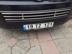 Цельная решетка в бампер (нерж) Volkswagen Caddy (2010-2015)
