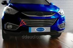 Полоски на решетку радиатора (3 шт, нерж) Hyundai IX-35 (2010-2015)