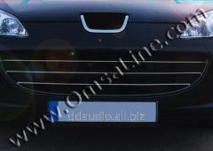 Накладки на решетку (3 шт, нерж) Peugeot 407 (2005+)