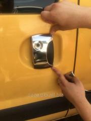 Накладки на ручки (нерж.) Две передних + одна сдвижная Renault Kangoo (1998-2008)