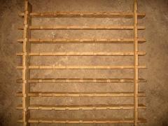Racks from an oak klepka for aging of wines