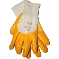 Перчатки нитрил, оранжевые 9 размер уп. 12 пар. ,Модель  P-05-2