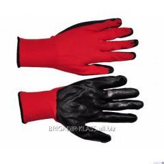 Перчатки вампир чёрный на красной основе. уп. 12 пар. ,Модель  P-07-4