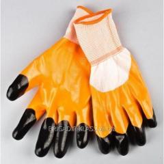 Перчатки стрейчивые 909 оранжевые. уп. 12 пар. ,Модель  P-15