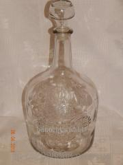 Wine bottle of 3 l with a glass cover