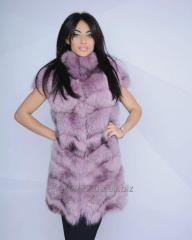 Vest from fur of a polar fox of pink color
