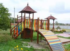 Playgrounds. Multipurpose wooden playground.