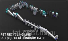 Lines of recycling plastic waste
