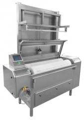 The car for cleaning of dry-cured products,
